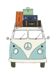 """The Peace Van on the Road"" - Drawing Limited Edition Art Print by Alston Wise. Van Hippie, Wolkswagen Van, Van Drawing, Carros Retro, Retro Bus, Bus Art, A4 Poster, Canvas Frame, Wall Art Prints"