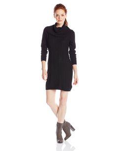 Dockers Women's Petite Cable Front Panel Cotton Sweater Cowl Neck Dress Petite, Black, X-Large. Three quarter sleeve. Front neckline pleats. Keyhole back. 36 inch.