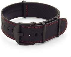 SALE 36% (34.99$) DASSARI Stealth Carbon Fiber NATO G10 Zulu Black w/ Red Stitching Leather Watch...