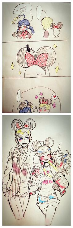 Felix and 2D Marinette wearing Mickey Mouse ears~ (Miraculous Ladybug, date, cute)
