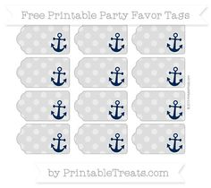 Free Pastel Light Grey Dotted Pattern Nautical Party Favor Tags