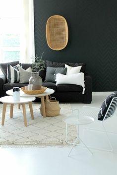 black wall color living room furniture sofa mirror