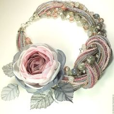 Rose and beads necklace Ribbon Jewelry, Scarf Jewelry, Textile Jewelry, Fabric Jewelry, Jewelry Art, Beaded Jewelry, Handmade Jewelry, Beaded Necklace, Jewelry Design