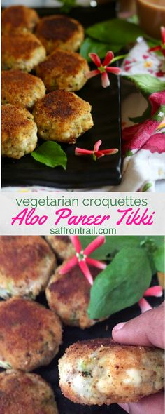 Aloo Paneer Tikki Recipe for aloo paneer tikki / vegetarian potato and paneer croquettes- This protein-rich version of the regular aloo tikkis is a perfect rainy day snack with tea. Kiddie lunch box tip inside! Indian Snacks, Indian Food Recipes, Vegetarian Recipes, Healthy Recipes, Ethnic Recipes, Indian Foods, Paneer Recipes, Vegetarian Cooking, Veggie Recipes