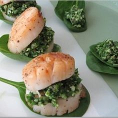 Stuffed Scallops with Spinach Pesto. Stuffed Scallops with Spinach Pesto. Fish Recipes, Seafood Recipes, Healthy Recipes, Delicious Recipes, Recipies, Easy To Cook Meals, Scallop Recipes, Seafood Dinner, Pesto Recipe