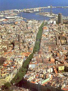 Barcelona. Bird's eye view over Las Ramblas