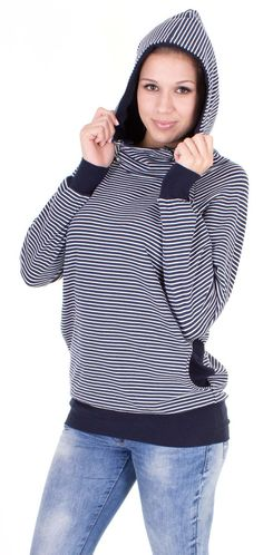 Viva la Mama | The 3-in-1, cozy, navy/white striped long-sleeved nursing & maternity hoodie BALTIC has a comfortable and long cut but is stylish and casual as well. BALTIC makes discreet breastfeeding everywhere possible. With its maritime style It is a cutel piece in your maternity wardrobe.