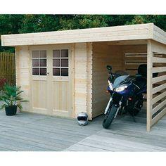 Abri de jardin a toit plat avec auvent terrasse l 39 avenir for Abri de jardin toit plat avec auvent