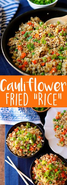 Healthy Cauliflower Fried Rice Eat Yourself Skinny food processor Veggie Dishes, Veggie Recipes, Low Carb Recipes, Vegetarian Recipes, Cooking Recipes, Healthy Recipes, Healthy Cauliflower Recipes, Healthy Fried Rice, Vegan Meals