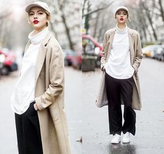Ebba Zingmark - Thatboii Cap, Weekday Top, Brixtol Coat, Nike Sneakers, Monki Pants - BOI