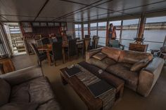 For a Chobe safari from a completely new angle, spend a few nights on the Pangolin (formerly Zambezi) Voyager Houseboat Single Chair, Dining Area, Safari, Around The Worlds, Relax, Leather Sofas, Couch, River, Luxury