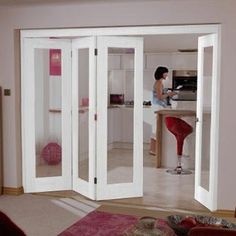 Our 4 door Nuvu Roomfold Shaker P10 style white door and frame sets with clear safety glass are delivered for free, the doors would be supplied primed and will require final decoration. The doors used are all 1981mm high and either 610mm or 686mm wide, this gives an overall opening requirement of 2078mm high and a width of either 2512mm or 2816mm, the structural openings should therfore be 5mm higher and 10mm wider. Frame and track may need cut to suit your specific choice of doors…