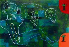 Géza, Emőke, Eszterke 70x100cm Acryl on canvas