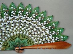 "Folding fan of Empress Maria Feodorovna C. 1867 Austria © The State Hermitage Museum Materials: Wood, silk carved and painted to imitate the Lily Of the Valley leaves and flowers. ""Веер деревянный, с..."