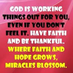 God is working things out for you, even if you don't feel it.  Have faith and be thankful.  Where faith and hope grows, miracles blossom.