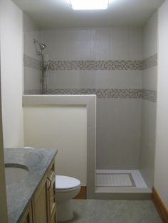 Shower with 3/4 wall, no door. May be the icing on the cake to finish off my master bath redo!