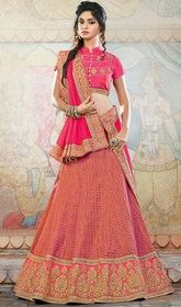 Pink Color Shaded Jacquard and Silk Embroidered Choli Skirt  #newstylechaniyacholi #lehengastylesforgirls Eulogize your charm draping this pink color shaded jacquard and silk embroidered choli skirt. Beautified with butta, jaal, lace, resham and sequins work. Upon request we can make round front/back neck and short 6 inches sleeves regular lahenga blouse also.  USD $ 239 (Around £ 165 & Euro 182)