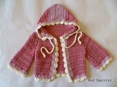 Organic Cotton Raspberry Red Crocheted Baby Hooded Sweater  Sized 0-3 months 424e6a52e1d9