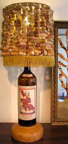 OOAK Vintage Wine Bottle Lamp and Strung by YellowRavenDesigns