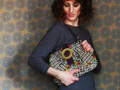 Ready to Ship Modern Hobo Handbag Urban Grid by textilecouture, $125.00