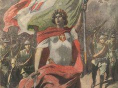 Una tavola di Adriano Minardi apparsa sulla «Tribuna illustrata» ai primi di novembre 1917..  Caporetto Sardinia, Art World, Mythology, Posters, Painting, Italia, Poster Poster, November, World War One
