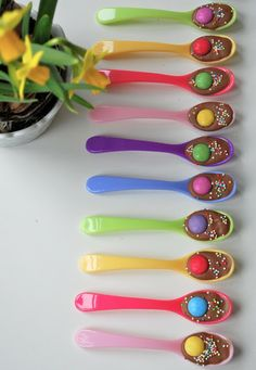 Colorful Easter treats -  perfect for some early morning Easter hot cocoa!