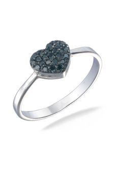 Vir Jewels 0.15 ct Black Diamond Ring in Sterling Silver