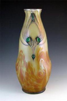Ferdinand Von Poschinger (Buchenau) Cabochon and Silver Overlay Vase Renaissance Furniture, Vintage Bohemian, Glass Design, Deco, Overlays, Art Nouveau, Glass Art, Glass Beads, Pottery