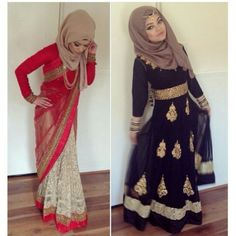 Desi hijabi wedding guest. Black one with that scarf and style