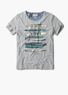 Printed cotton t-shirt | MANGO MAN