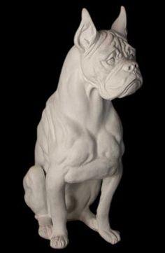 "Boxer Dog Sculpture Statue 30"""