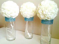 Centerpiece Cylinder Vase Lot Turquoise Teal Bling Rhinestone Diamond Crystal Elegant Wedding Party Vases 5 Pc Lot
