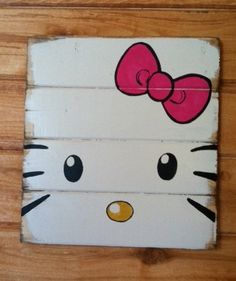 "Hello Kitty Hello Kitty Hello Kitty13""w x14""h hand-painted wood sign"