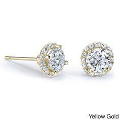 Victoria Kay 14k Gold 1/2ct TDW Diamond Halo Stud Earrings (I-J, I1-I2) (Yellow Gold), Women's, Size: Small, White
