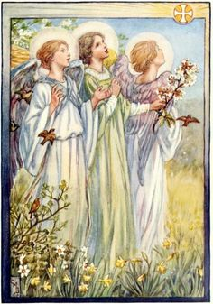 Cicely Mary Barker Vintage Old Hymn Print. Christ the Lord is Risen Again Cicely Mary Barker, I Believe In Angels, Angels In Heaven, Guardian Angels, Flower Fairies, Art Moderne, Fantasy Illustration, Angel Art, Religious Art