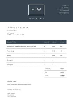 Invoice Template Billing Template Photography Invoice Receipt - Invoice template psd