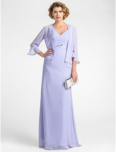 Sheath/Column Plus Sizes / Petite Mother of the Bride Dress - Lavender Floor-length 3/4 Length Sleeve Chiffon 2016 - $89.99