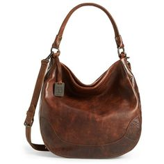 Frye 'Melissa' Washed Leather Hobo ($291) ❤ liked on Polyvore featuring bags, handbags, shoulder bags, dark brown, brown leather handbags, leather shoulder bag, genuine leather handbags, hobo shoulder bag and hobo handbags