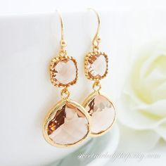 Bridesmaid Gift Wedding Jewelry Bridesmaid Jewelry Bridal Jewelry Champagne Gold Drop Earrings Peach Glass Dangle Earrings Framed Stone on Etsy, $26.50