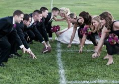 so, is the bridal procession from the 50 yd line to the endzone? Football Wedding, Groomsmen Invitation, Football Relationship, Wedding Planning Websites, Bride Photography, When I Get Married, Wedding Photo Inspiration, Marry You, Couple