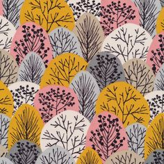 Half Yard Bark and Branch Autumn Wonderland in Gold, Eloise Renouf, 100% GOTS-Certified Organic Cotton, Cloud9 Fabrics