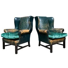 Green Leather Wingback Chairs