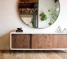 Materials: Walnut + Industrial Steel + Plywood Substrate  Process: This Credenza is Custom Made in Los Angeles. The case is assembled and finished.