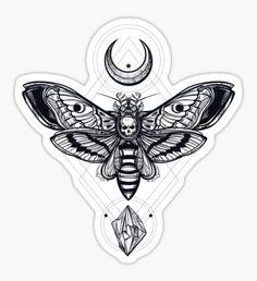 'Moth' Sticker by Sven Horn Bug Tattoo, Sternum Tattoo, Mandala Tattoo, Hand Tattoos, Unique Tattoos, Cute Tattoos, Body Art Tattoos, Small Tattoos, Insect Tattoo