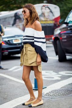 Oversized striped off-the-shoulder top + utility skirt