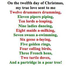 pix for 12 days of christmas lyrics for kids - 12 Days Of Christmas Song Lyrics