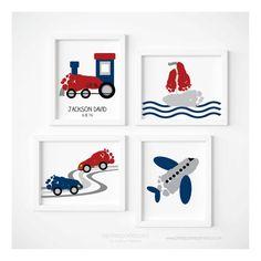 Transport Reisen Kinderzimmer Kunst Druck gesetzt Zug