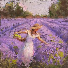 Lavender Art Painting - Woman Picking Lavender In A Field In A White Dress - Lady Lavender - Plein Air Painting by Karen Whitworth