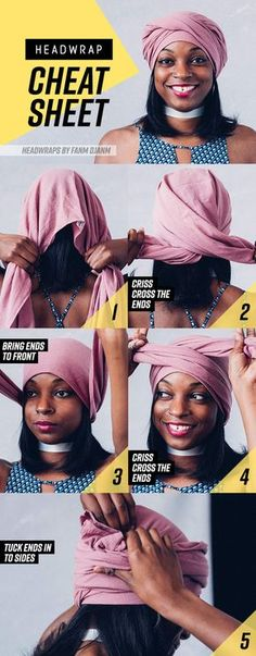 hair wrap scarf 8 Head Wrap Cheat Sheets If You Dont Know How To Tie Them Natural Hair Care, Natural Hair Styles, Mode Turban, Hair Wrap Scarf, How To Wrap Hair, Scarf Head Wraps, Bandana Head Wraps, Twisted Hair, African Head Wraps