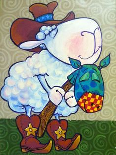 """Cowboy Sheep - 12"""" x 18"""" Acrylic Painting on Canvas - flying shoes art studio"""